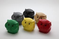 フクロウ鋳物置物・赤・緑・黄・クリーム・黒・グレー